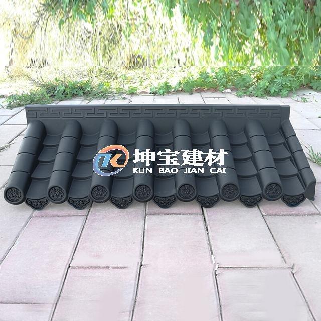 树脂瓦仿古一体屋檐瓦塑料瓦中式pvc仿古门头屋檐塑料围墙装饰瓦